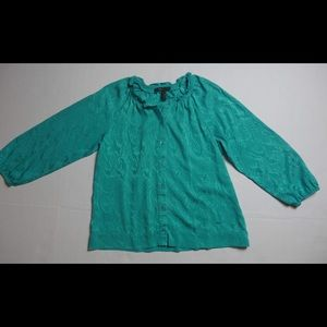 BCBG Max Azria Teal Longsleeve Button Blouse Small